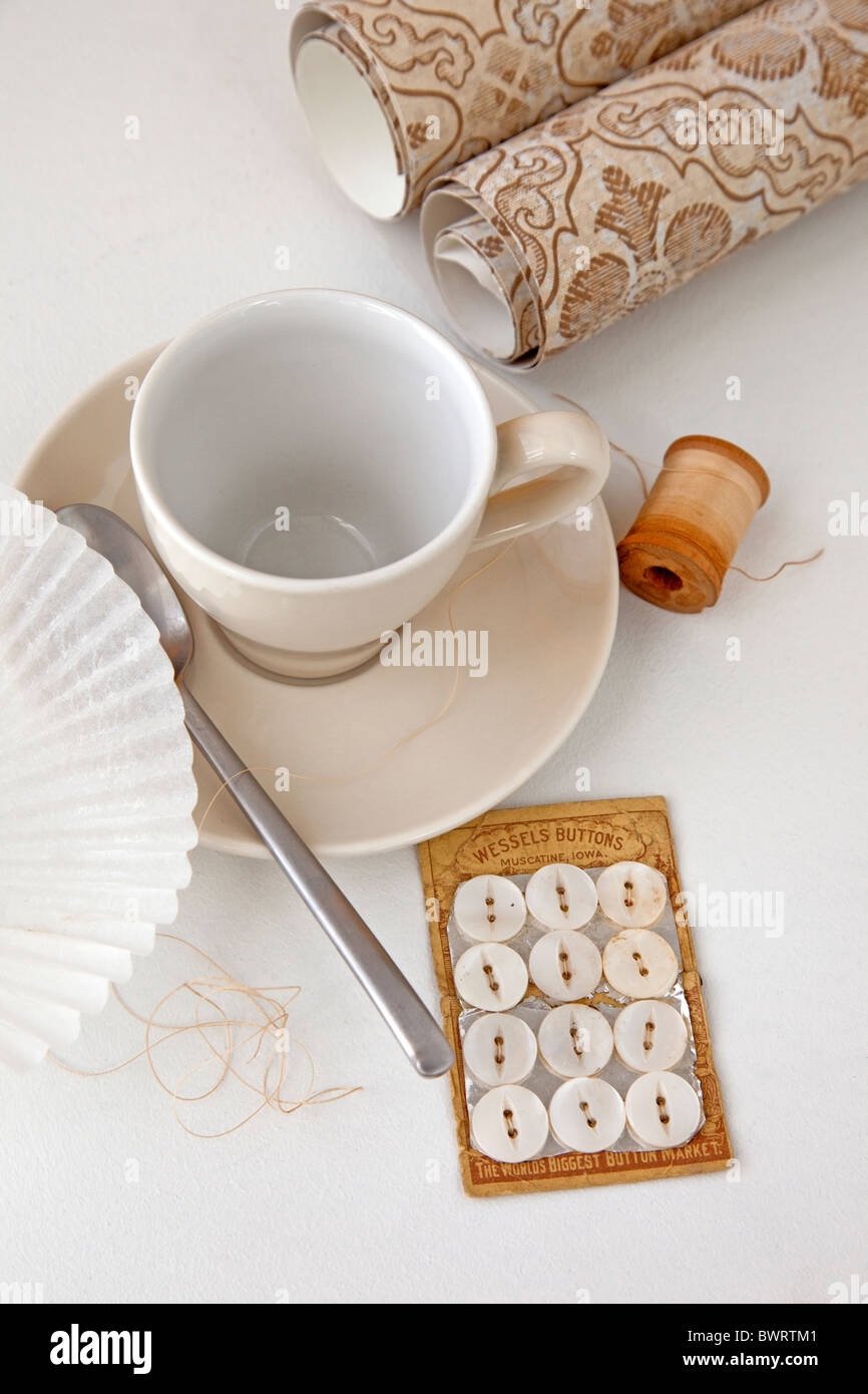 Raccolta di oggetti di colore beige Immagini Stock