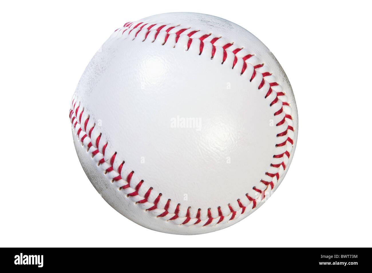 Foto di un baseball isolato su sfondo bianco con percorso di clipping fatto utilizzando lo strumento penna. Immagini Stock