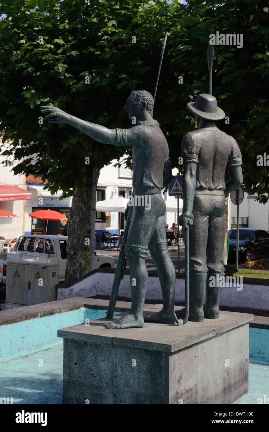 Il Whaler monumento in Capelas, Isola di Sao Miguel Immagini Stock