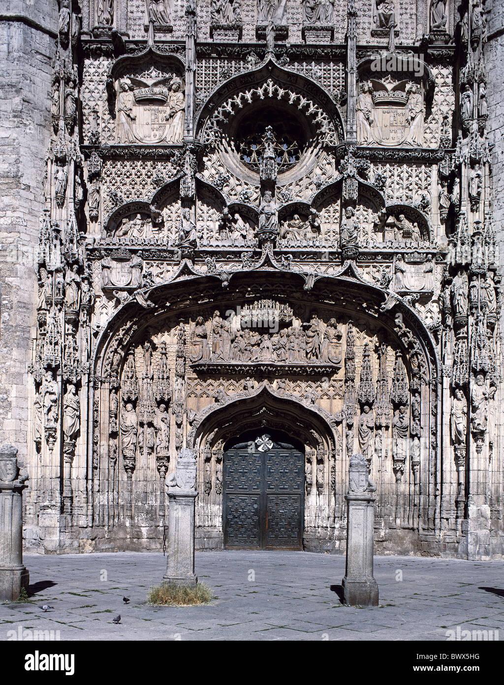 Architettura costruzione gotica di dettaglio della scultura gotica chiesa chiostro San Pablo entrata principale Immagini Stock