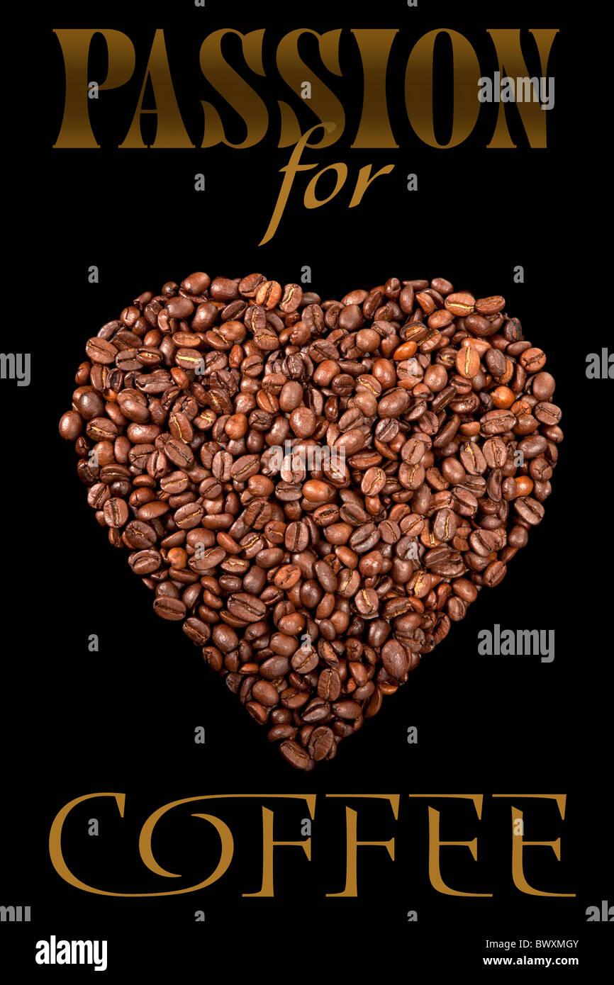 Il poster con i chicchi di caffè Immagini Stock