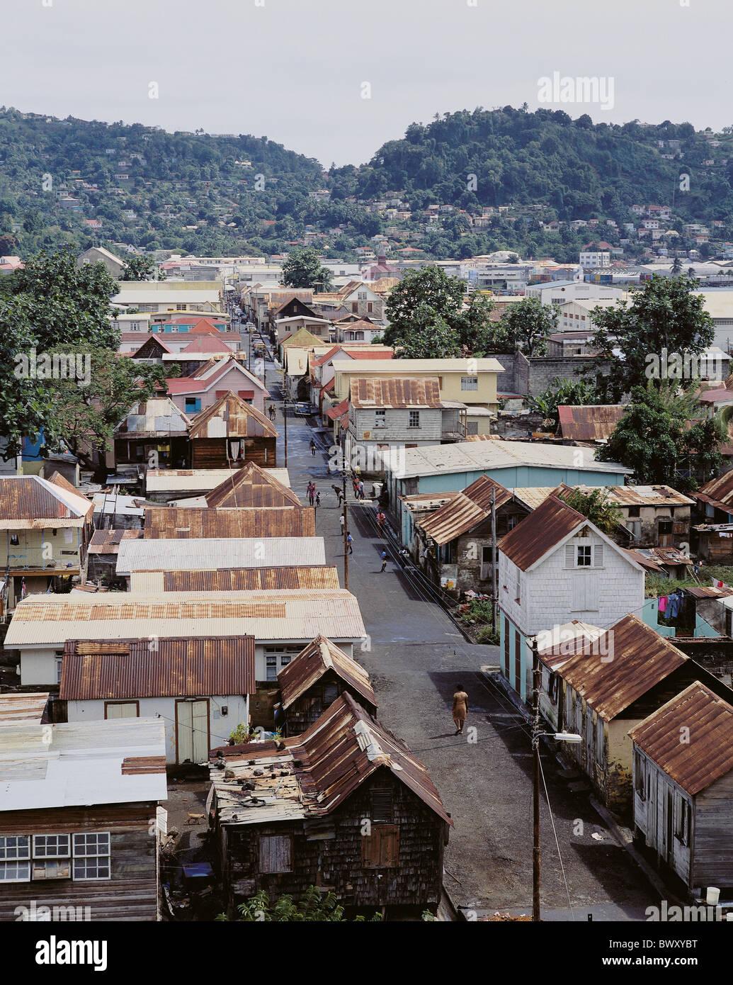 Baraccopoli Saint Vincent Kingstown caserma insediamento street povertà miseria squallore Immagini Stock