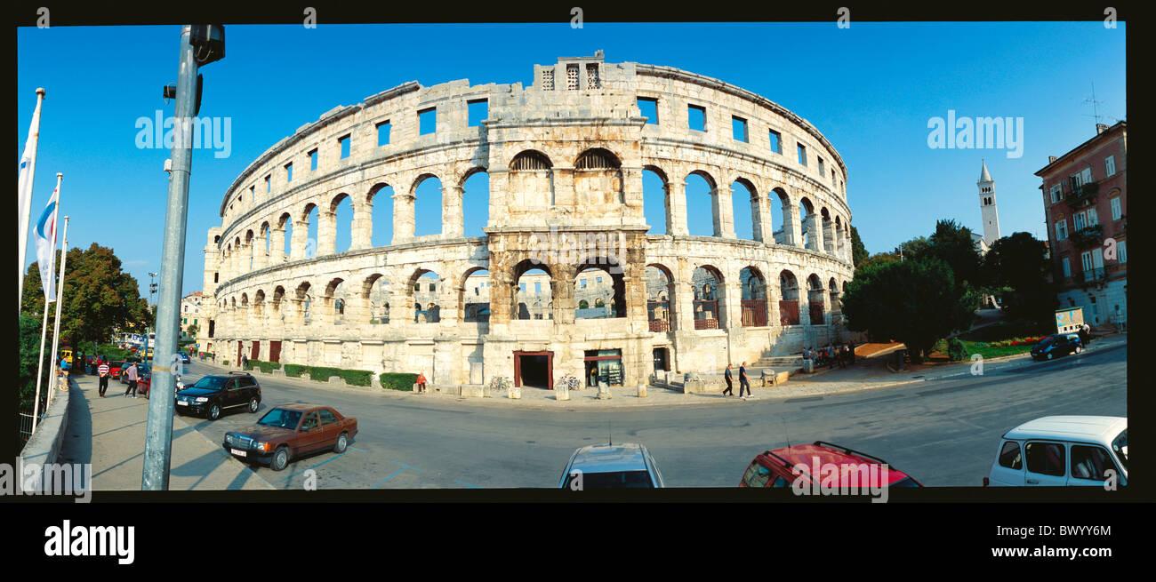 Anfiteatro antico mondo storico antichità Istria Croazia panorama romano romano della città di Pola ampia Foto Stock