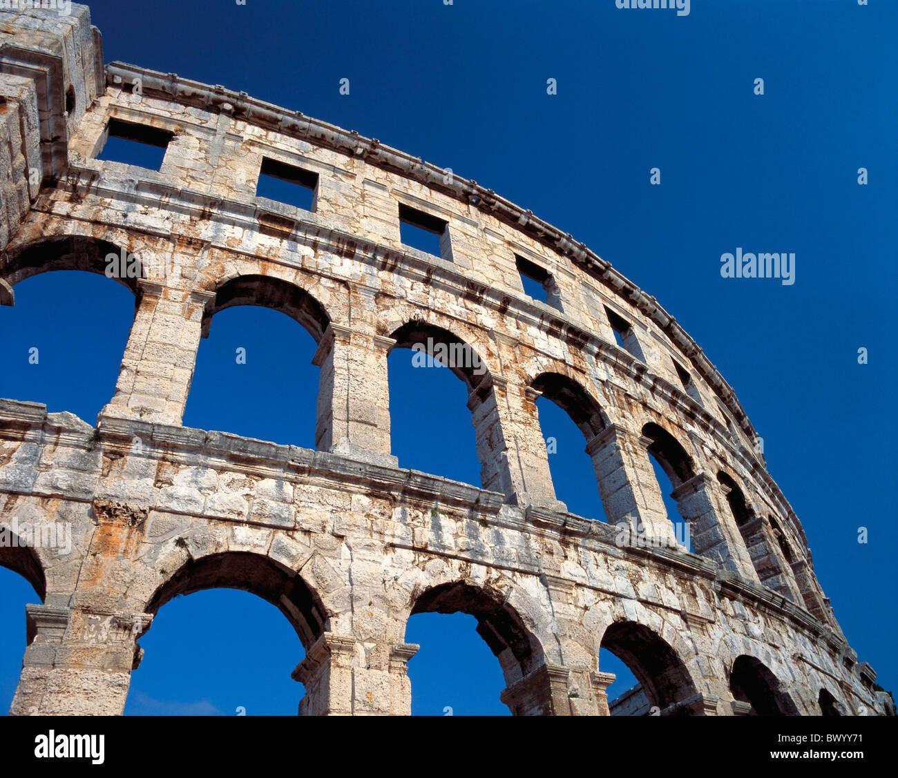 Anfiteatro antico mondo antichità portici dettaglio storica facciata Istria Croazia romana la città romana ci Foto Stock