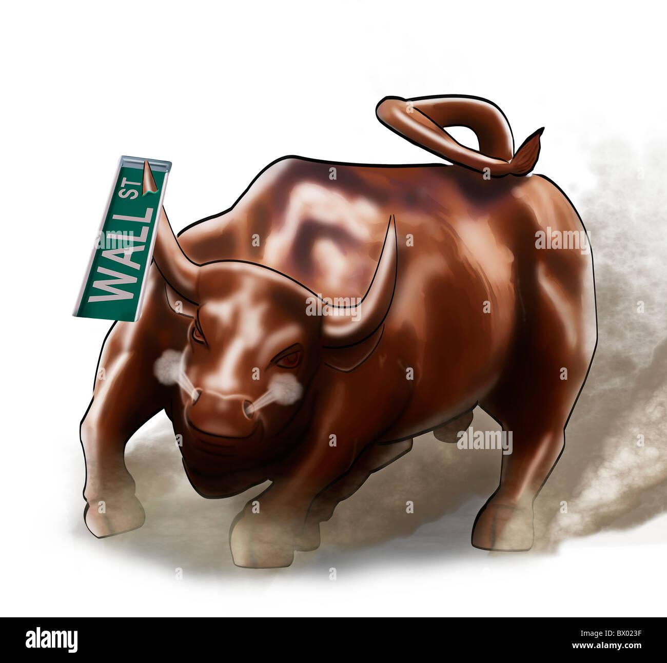 Cartoon illustrazione del Wall Street Bull scatenandosi con il Wall Street  sign infilzata su uno dei suoi corni. c2e0c2e68a37