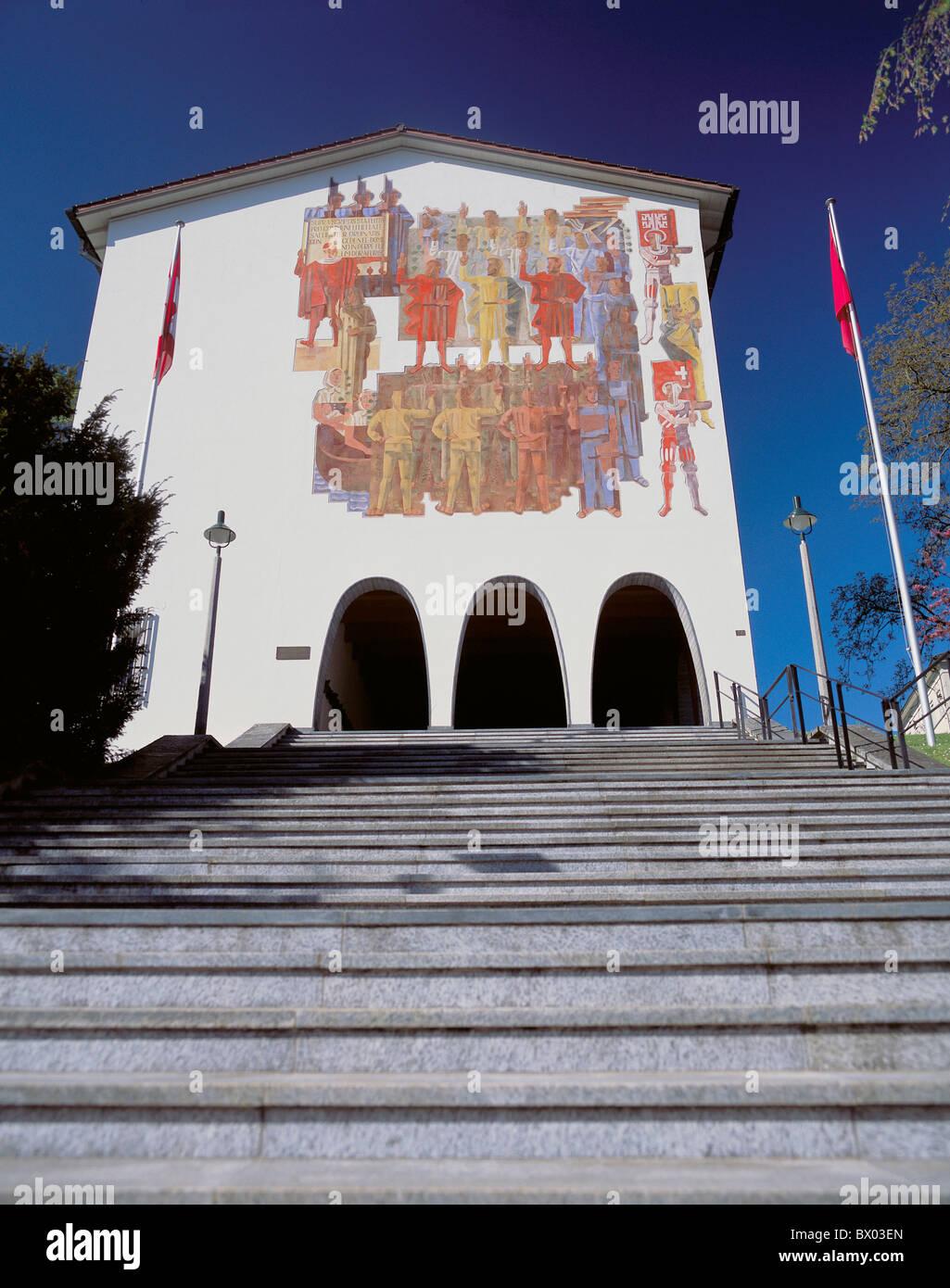 Europa svizzera Svitto lettera federale museo facciata vernici stair Immagini Stock