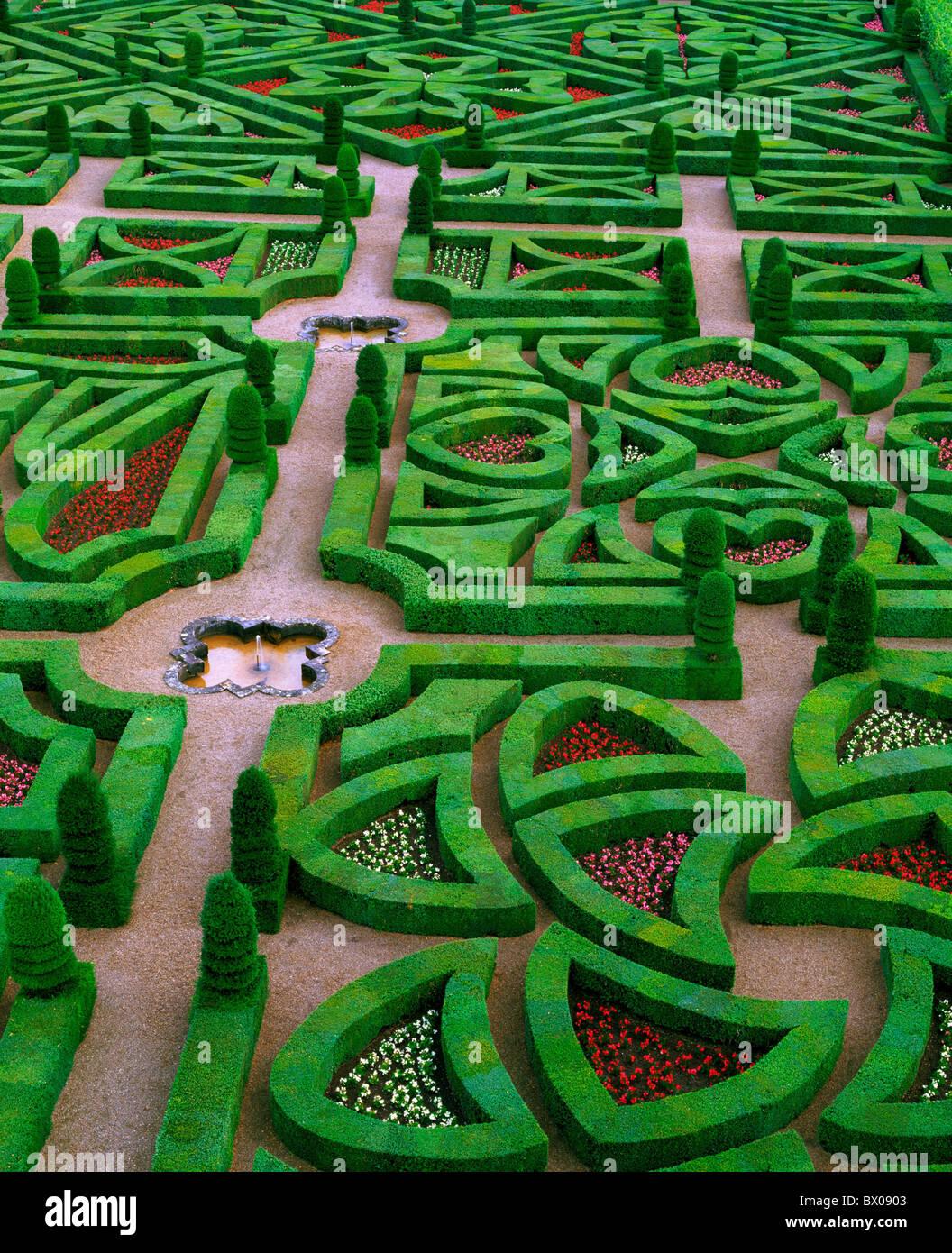 Francia Europa giardino castello Loire Villandry panoramica Immagini Stock