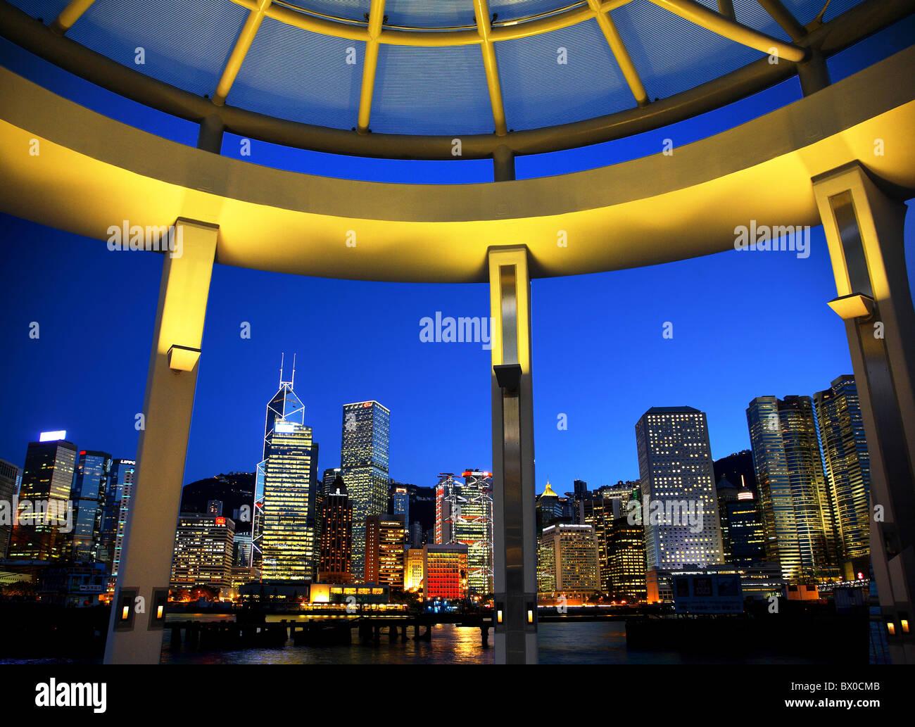 Grattacieli nel distretto centrale, Hong Kong, Cina Immagini Stock