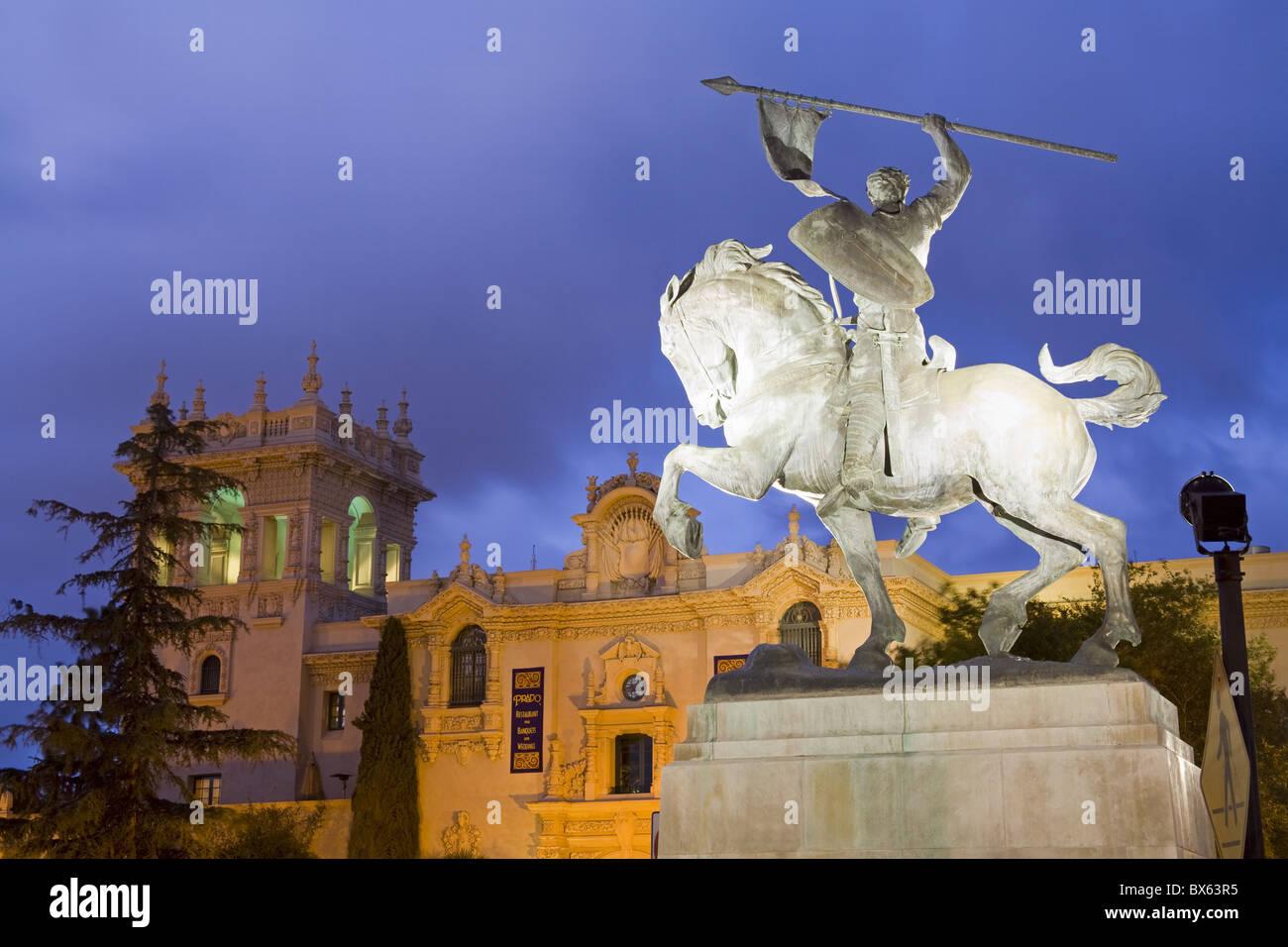 El Cid statua e la casa di accoglienza in Balboa Park, San Diego, California, Stati Uniti d'America, America Immagini Stock