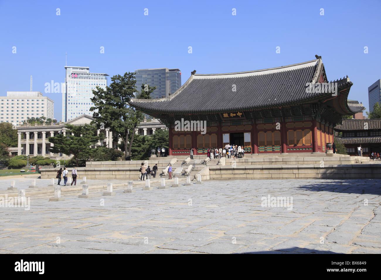 Palazzo Deoksugung (Palazzo virtuoso di longevità), Seul, Corea del Sud, Asia Immagini Stock