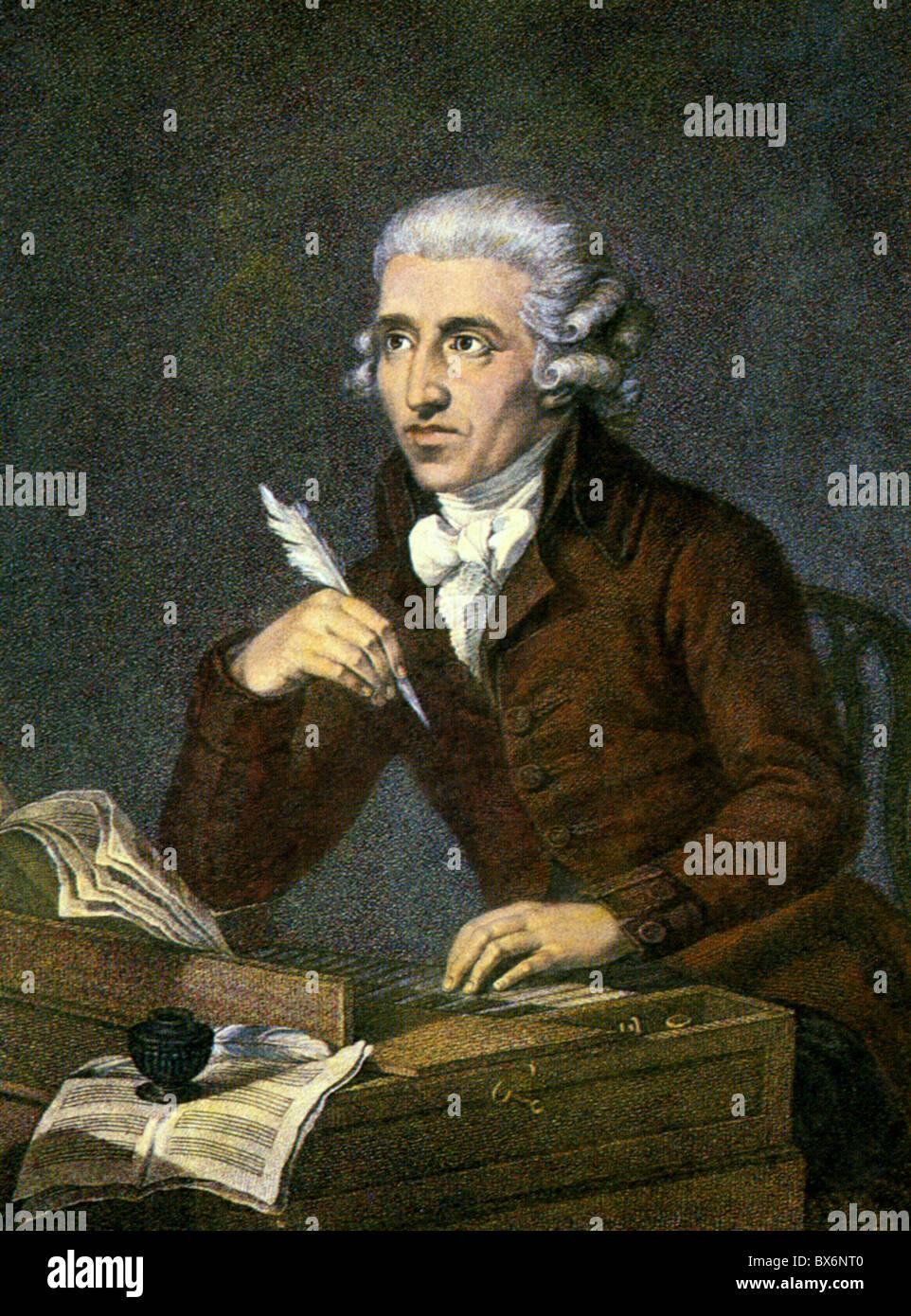 Haydn, Giuseppe, 31.3.1732 - 31.5.1809, il compositore austriaco, a mezza lunghezza e stampa dopo la verniciatura Immagini Stock