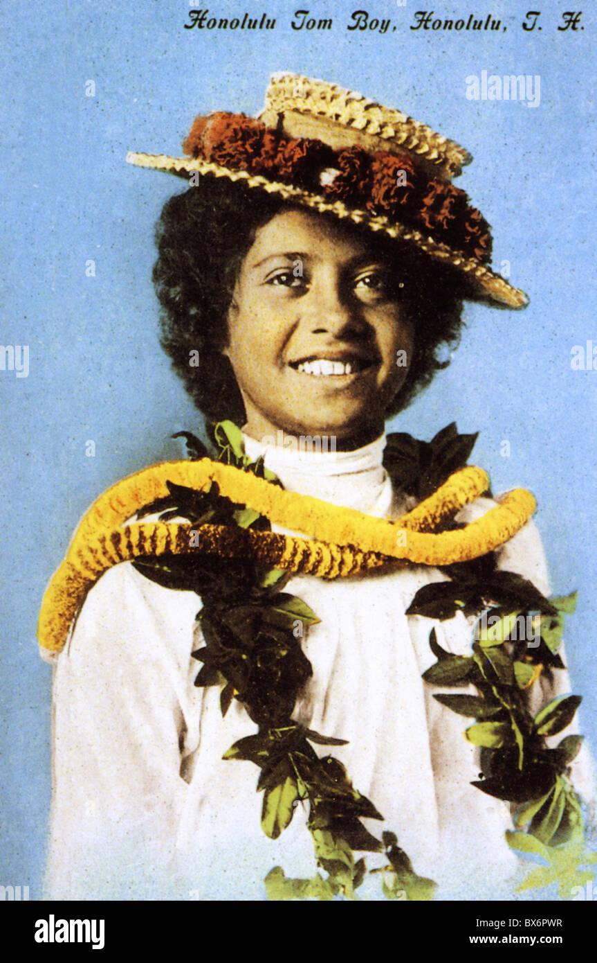 Geografia / viaggio, USA, Hawaii, persone, giovane donna, 'Honolulu Tom Boy', cartolina colorata, 1905, , Additional Foto Stock