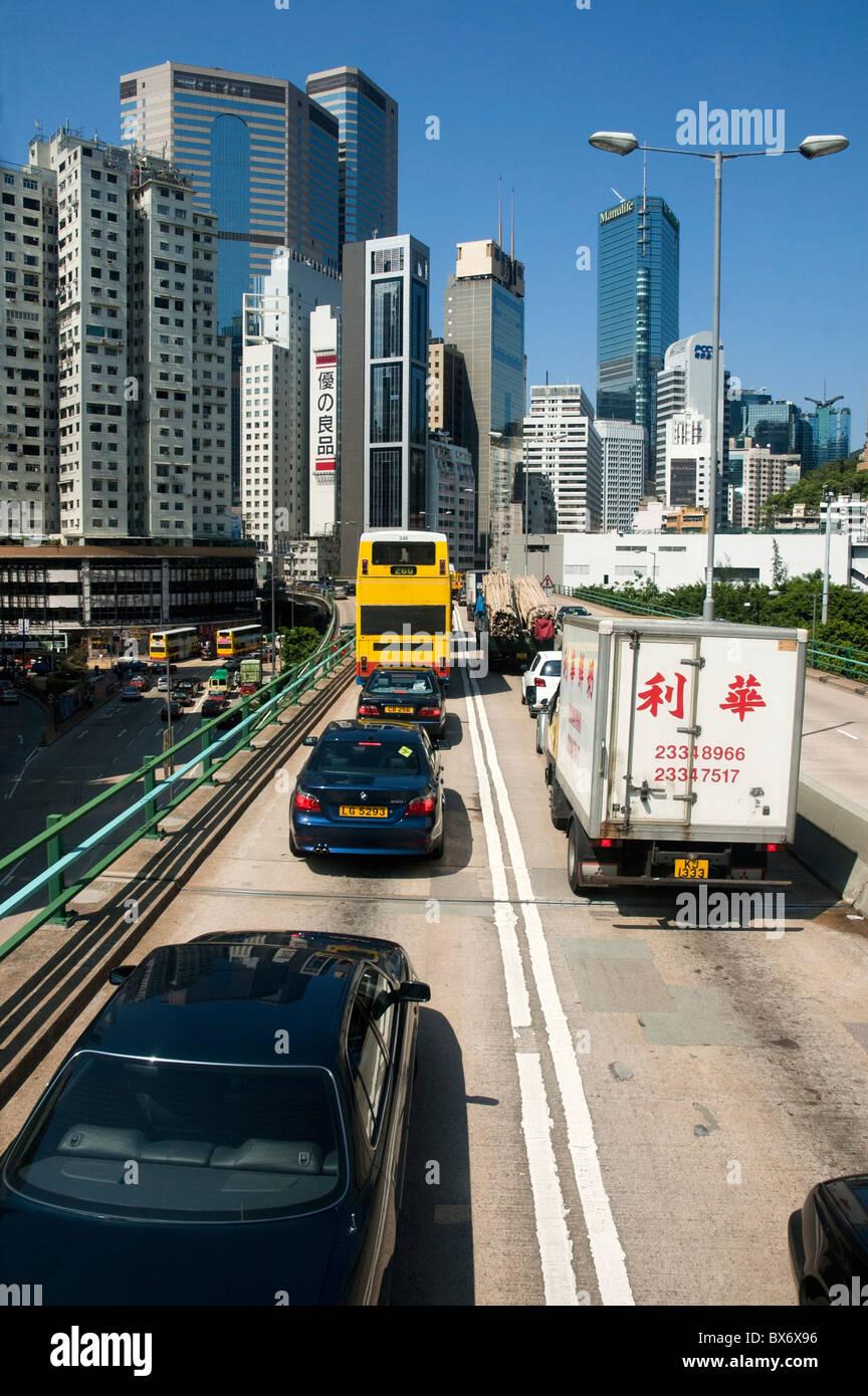 Inceppamento di traffico su un'autostrada a pedaggio tra Aberdeen e Admiralty, Isola di Hong Kong, Hong Kong, Immagini Stock
