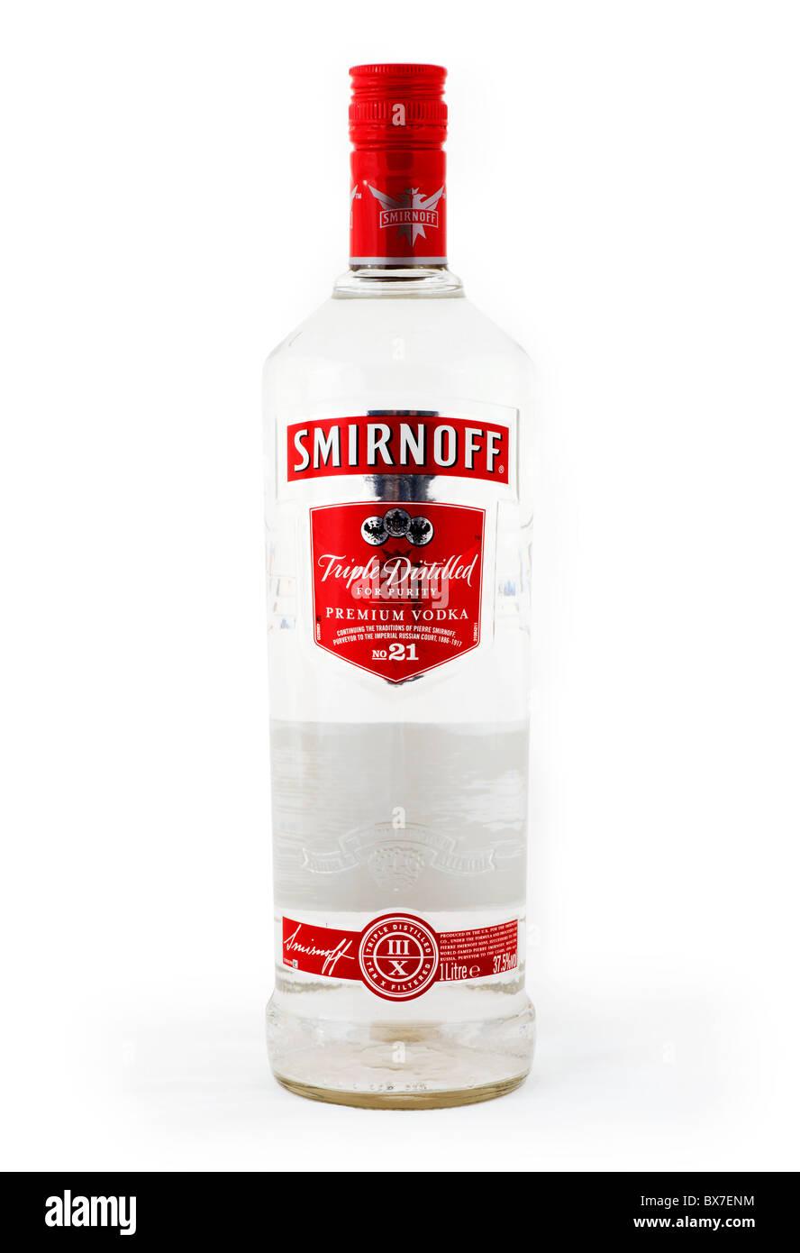 Bottiglia di Smirnoff vodka premium Immagini Stock