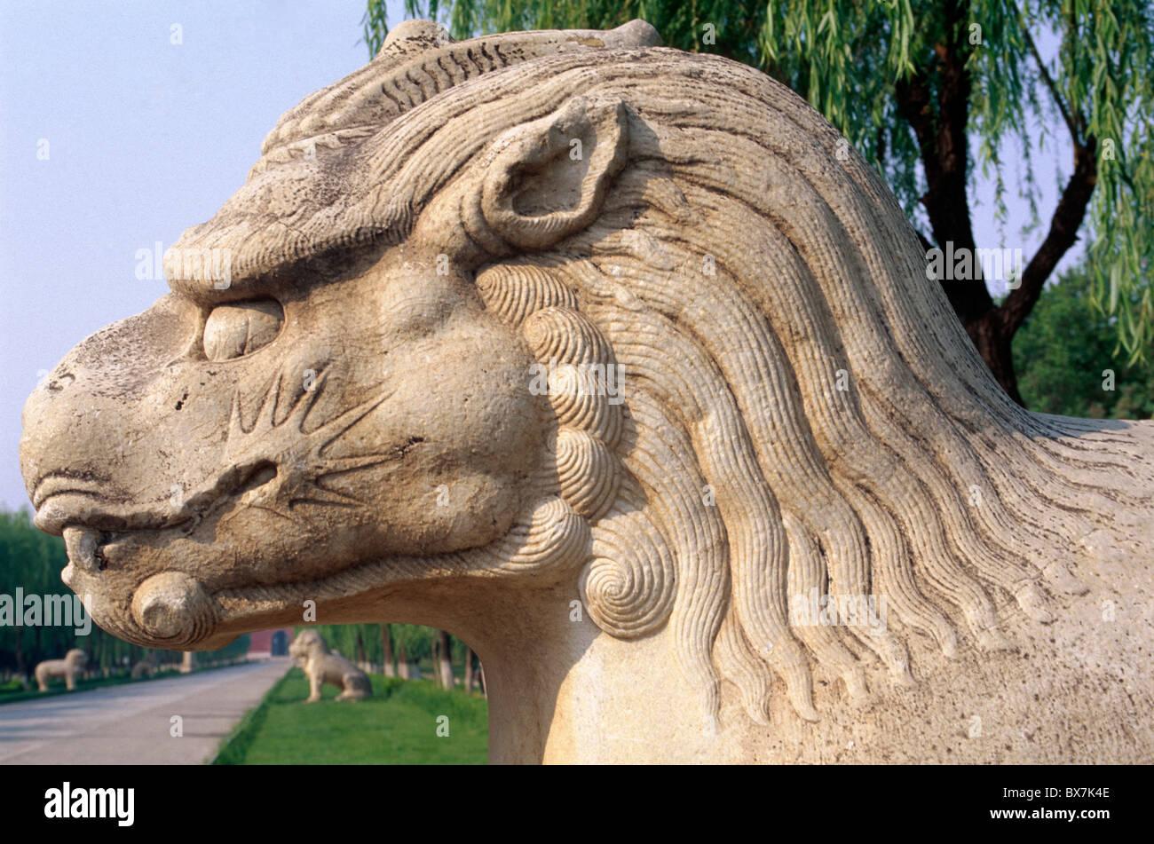 Personaggio mitologico Xiezhi , titolo di alcolici, Ming-Tombs, Pechino, Patrimonio Mondiale Immagini Stock