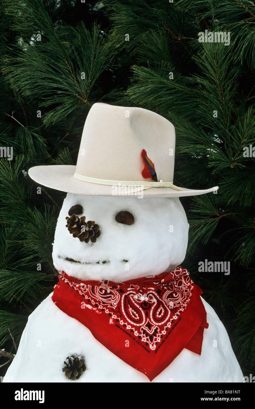 Vintageclose fino stile western American Wild West cowboy pupazzo di neve  con un rosso bandana 802aa4de4ae0