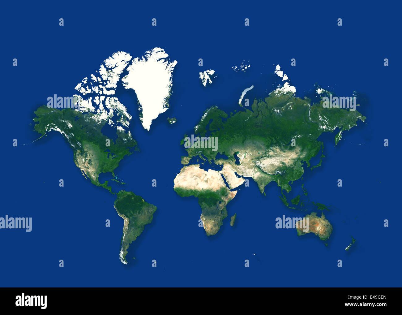 Mappa del mondo in sfondo blu Immagini Stock