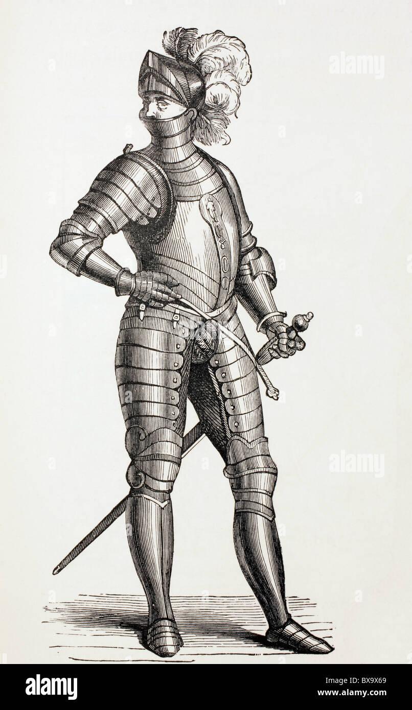 Un cavaliere in armatura completa nel XV secolo. Immagini Stock