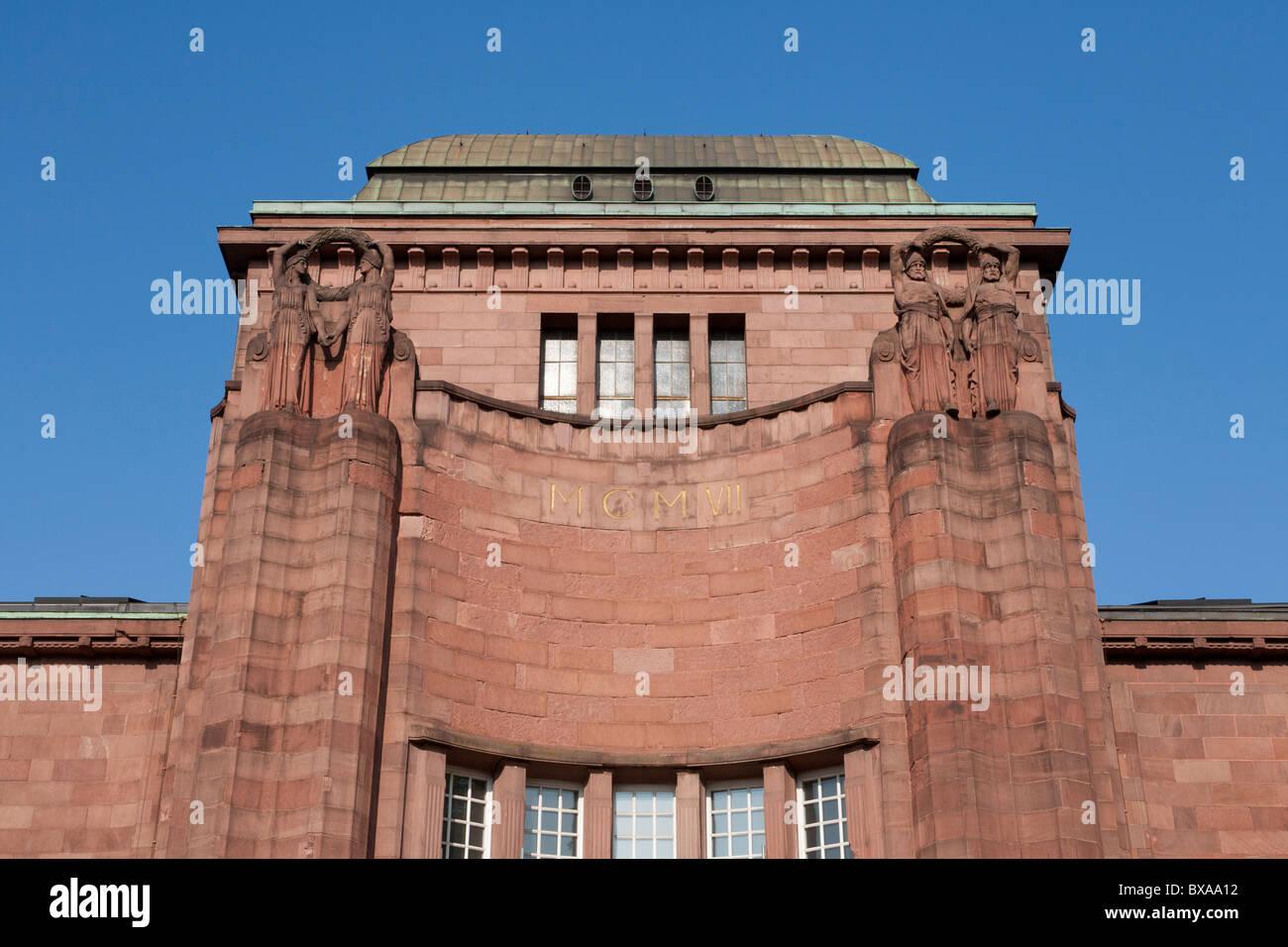 La Kunsthalle, Museo d'arte dal 1907, il museo, Jugendstil, Mannheim, BADEN-WUERTTEMBERG, Germania Immagini Stock