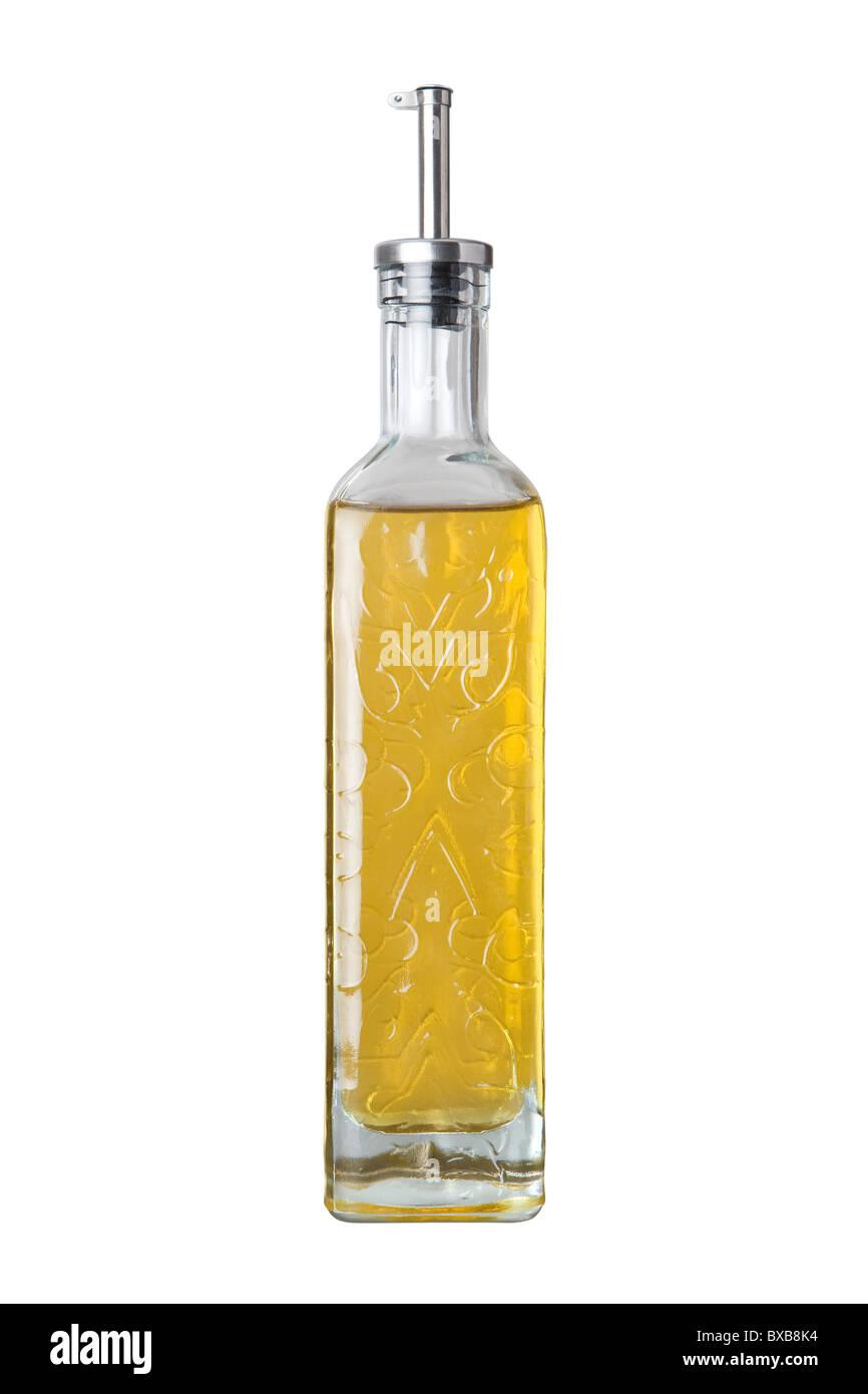 Olio di oliva ampolla isolato su uno sfondo bianco. Immagini Stock