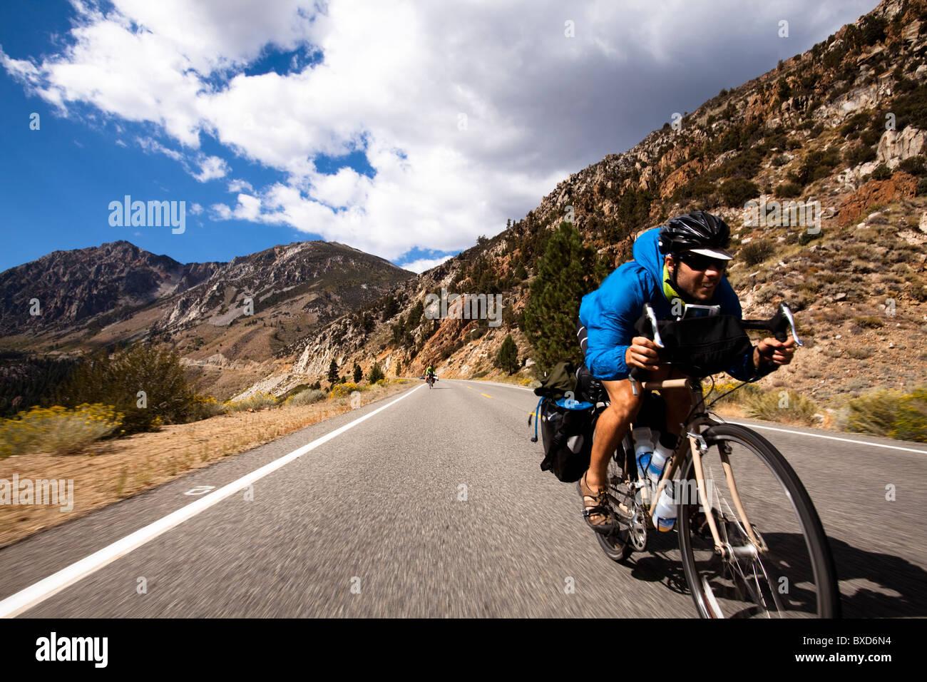 Un maschio ciclista corse caricate touring bike giù il Tioga Pass in Yosemite in California. Foto Stock