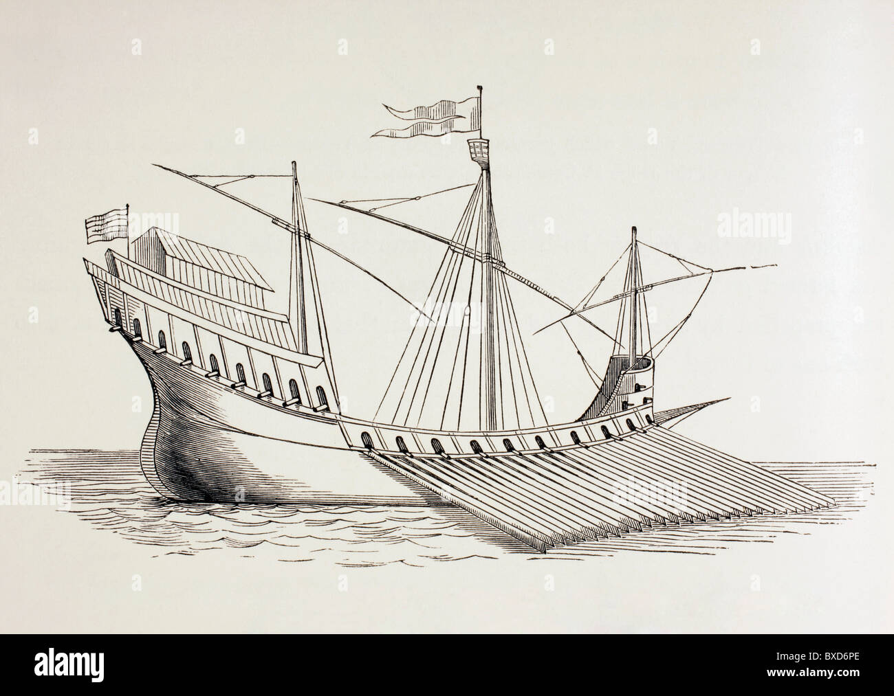 Xvi secolo galley. Immagini Stock