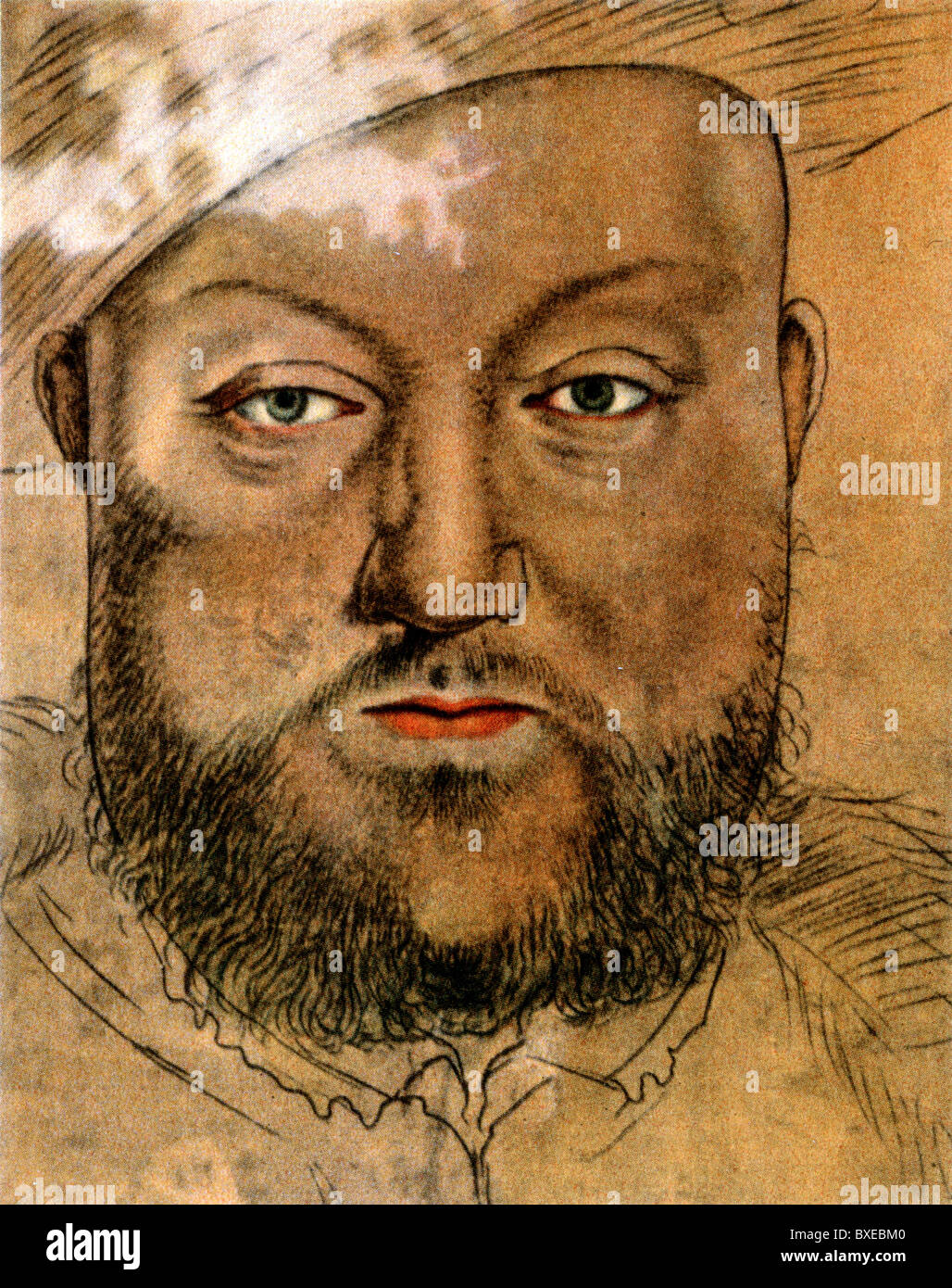 Schizzo di Hans Holbein il Giovane; Ritratto di Re Enrico VIII d'Inghilterra, Illustrazione a colori; Immagini Stock