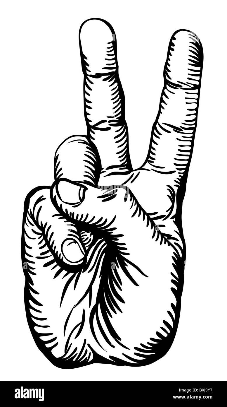 Pace Bianco E Nero un bianco e nero illustrazione della mano umana dando la
