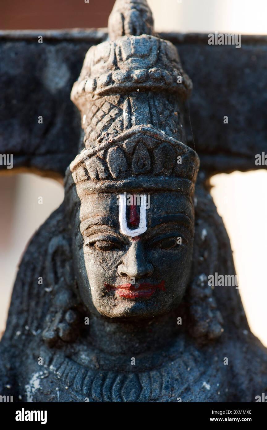 Indian Venkateshwara divinità Hindu Temple statua. Andhra Pradesh, India Immagini Stock