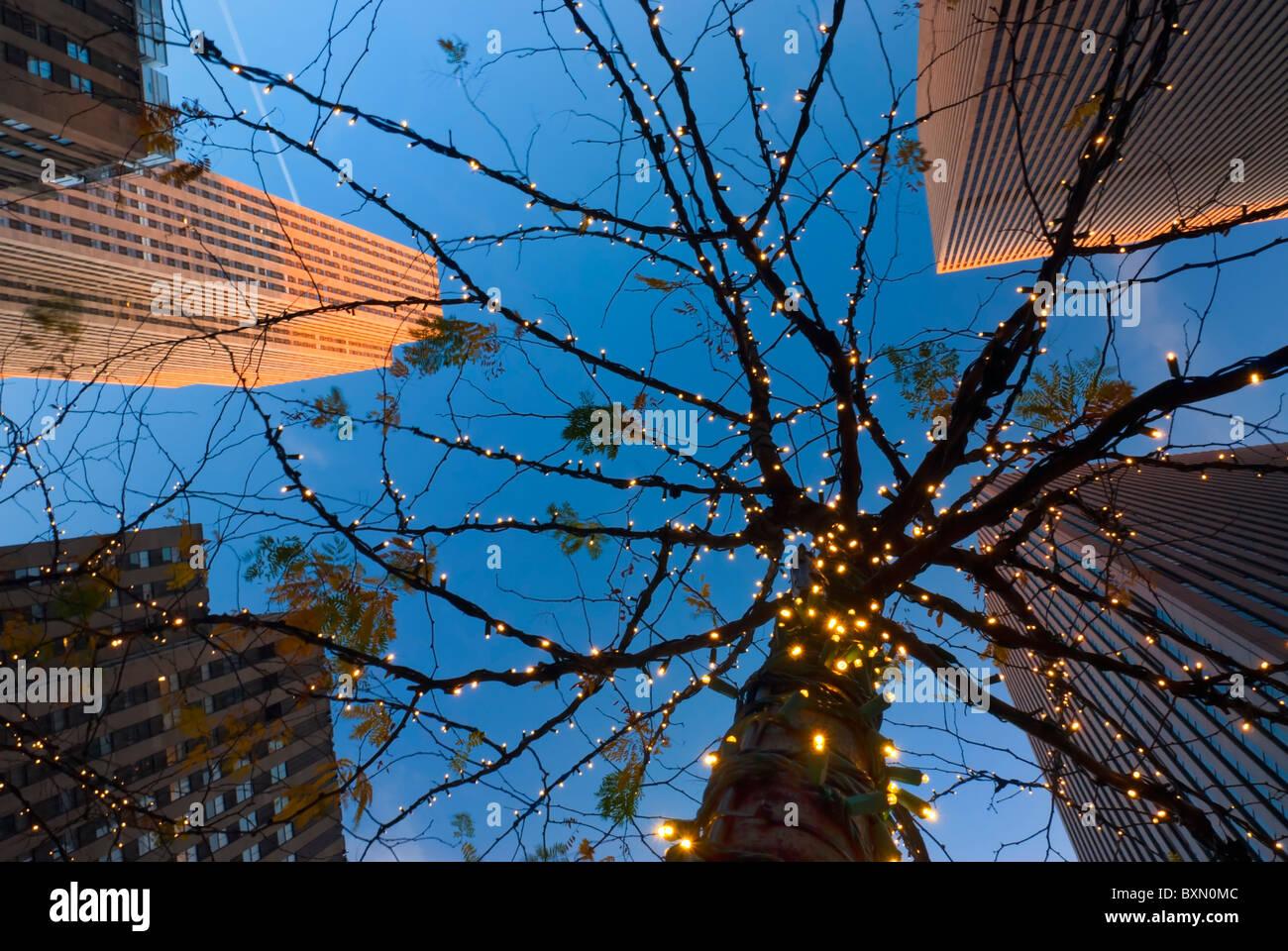 I grattacieli del Rockefeller Center, cercando fino a tree illuminata con holiday luci bianche, crepuscolo, 6th Immagini Stock
