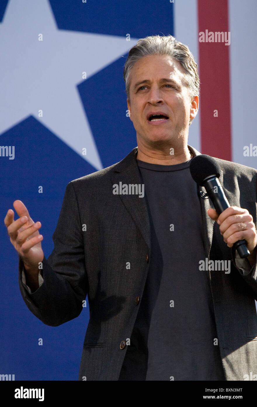 Jon Stewart al Rally per ripristinare la salute e/o la paura. Foto Stock