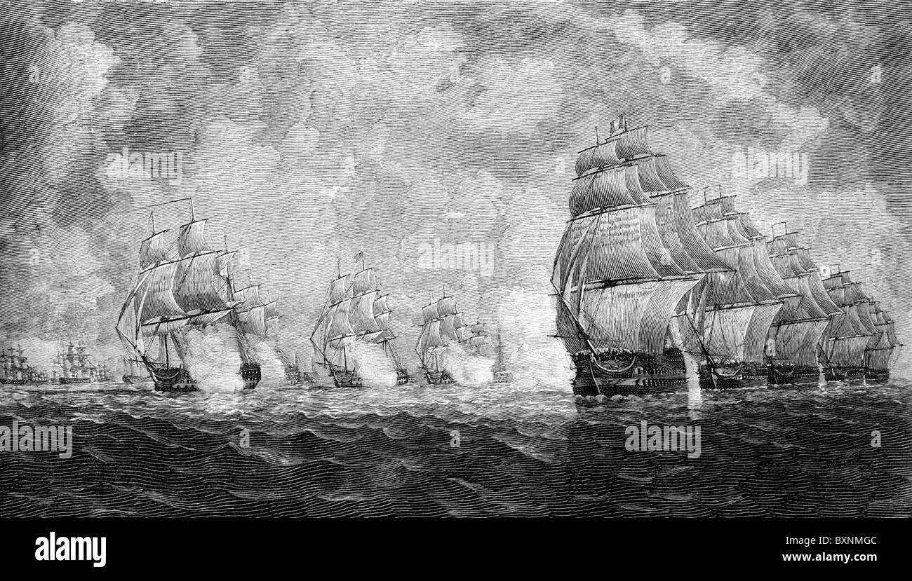 Azione di Pulo Aor (Pulo Aura) tra uomini francesi-o-guerra e navi della East India Company, 1804 Immagini Stock