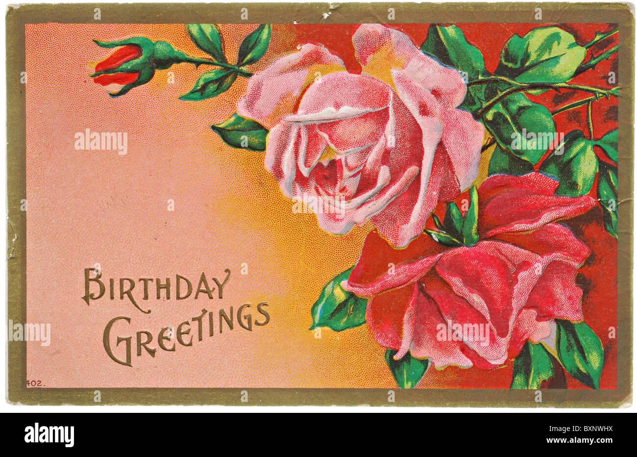 Vintage Gli Auguri Di Buon Compleanno Cartolina Con Rose Rosse Foto