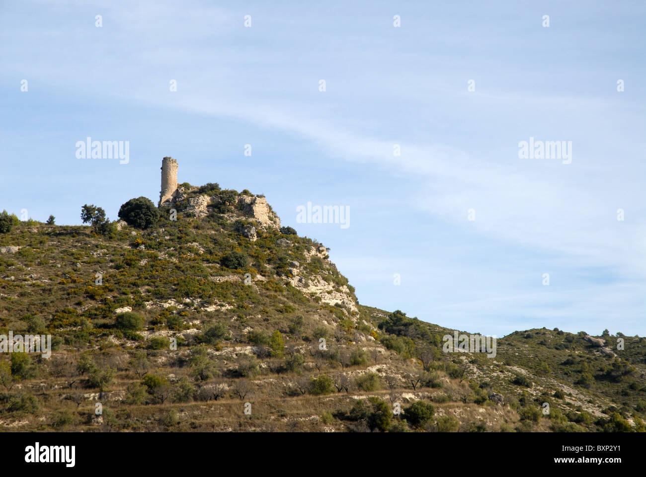 Rovine del Castello Costurera (castilo de Costurera), Balones, Vall de Seta, Provincia di Alicante, Comunidad Valenciana, Immagini Stock