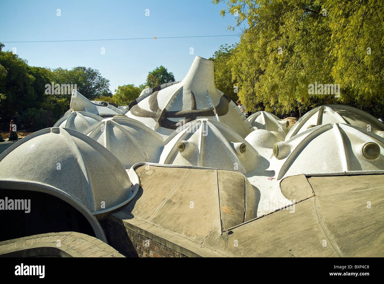 Hussain Doshi Gufa metropolitana galleria d'arte progettato dall architetto B V Doshi, Ahmedabad, Gujarat, India Immagini Stock