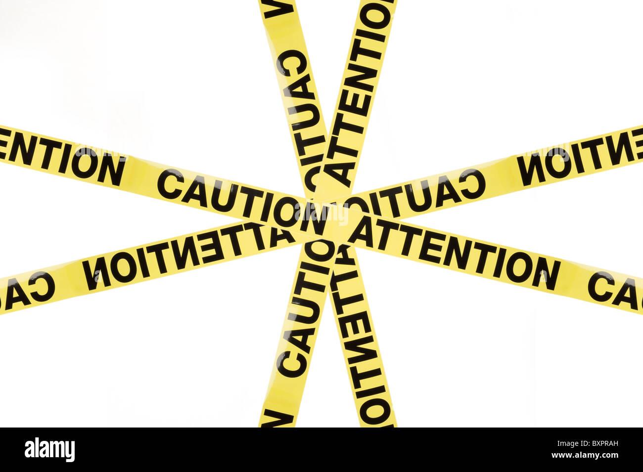 Segnale di avvertimento Attenzione Attenzione, studio isolato su sfondo bianco Immagini Stock