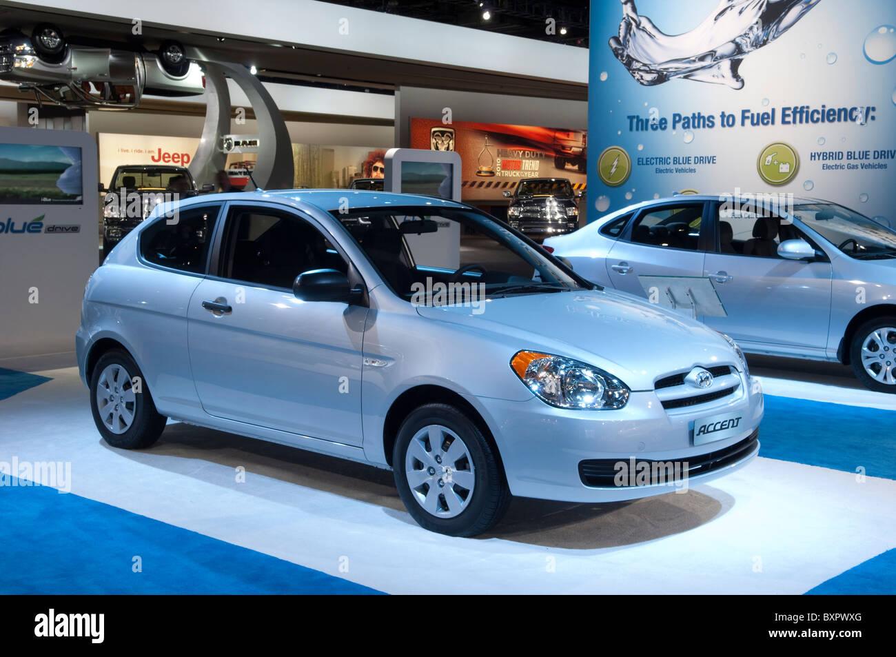Hyundai Accent al 2010 North American International Auto Show di Detroit Immagini Stock