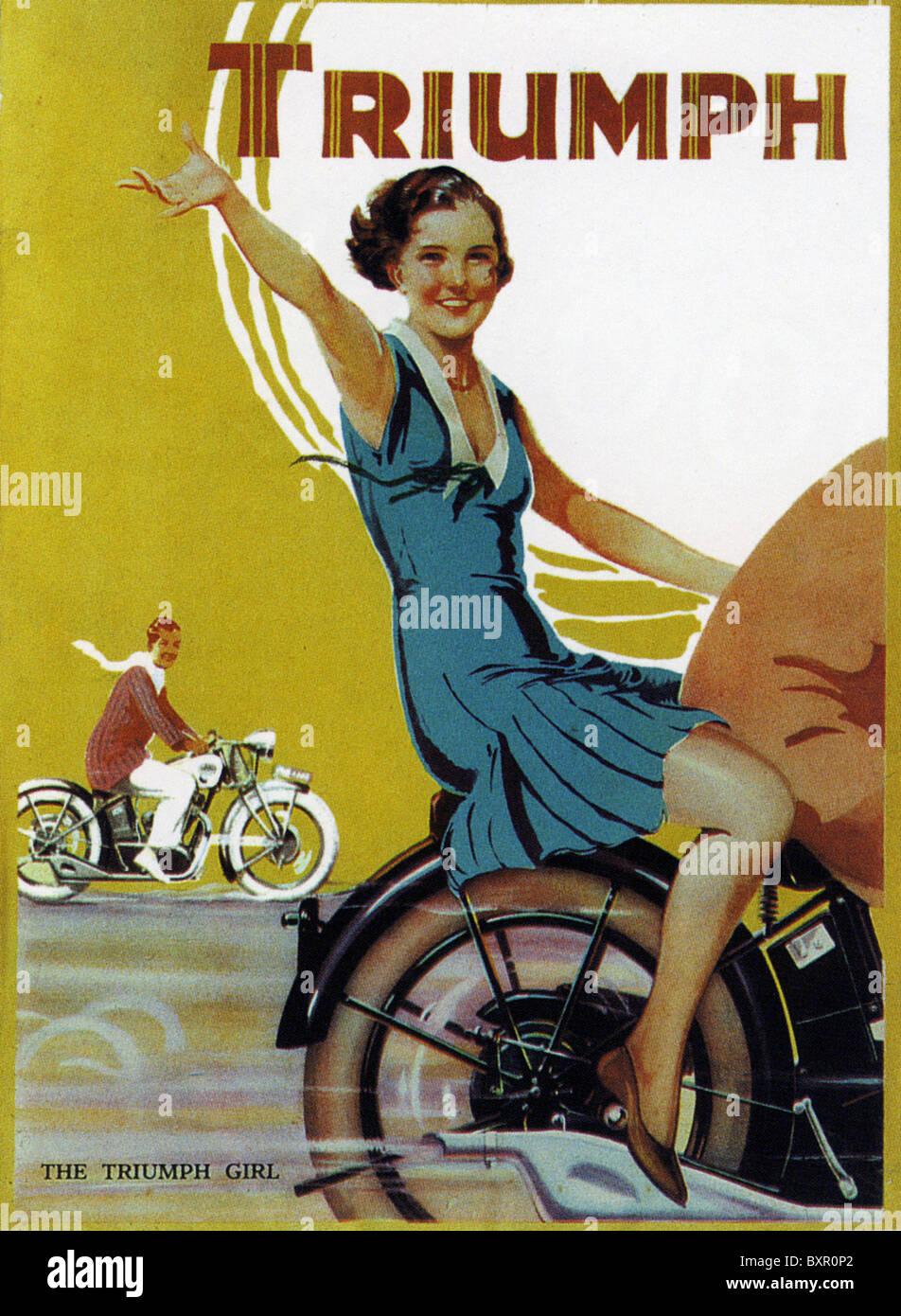 Trionfo motociclo annuncio 1931 Immagini Stock
