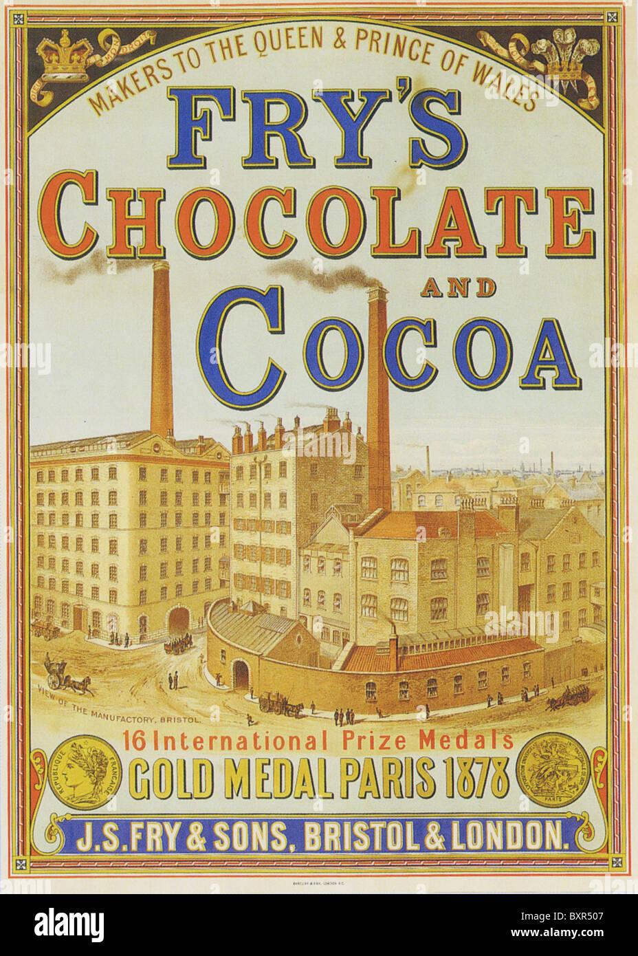 FRY'S cioccolato e cacao advert 1880 Immagini Stock