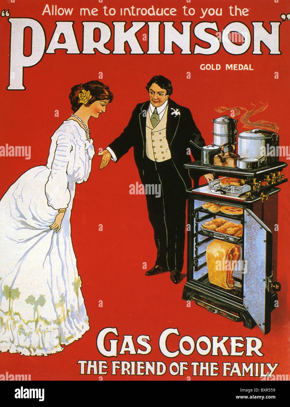 Morbo di Parkinson fornello a gas advert 1910 Immagini Stock