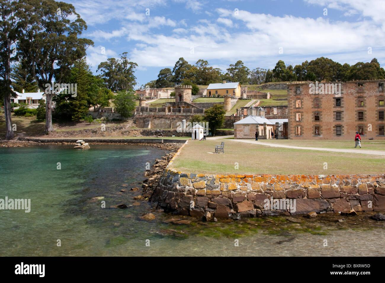 Australia e Tasmania, Penisola Tasmana, Port Arthur, vista di edifici del sito storico Immagini Stock