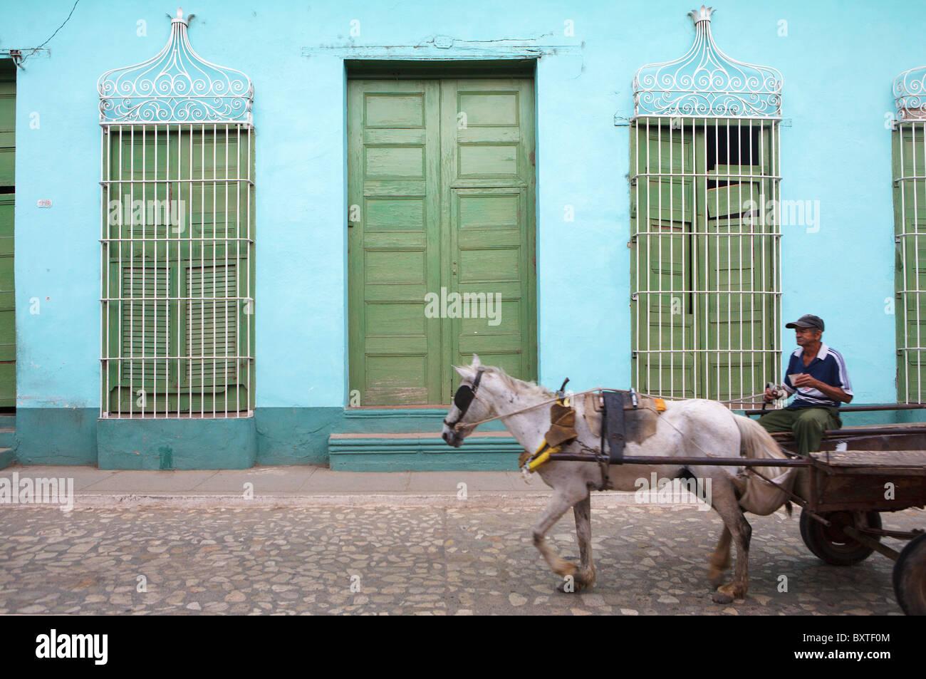 TRINIDAD: cavallo e carrello Immagini Stock
