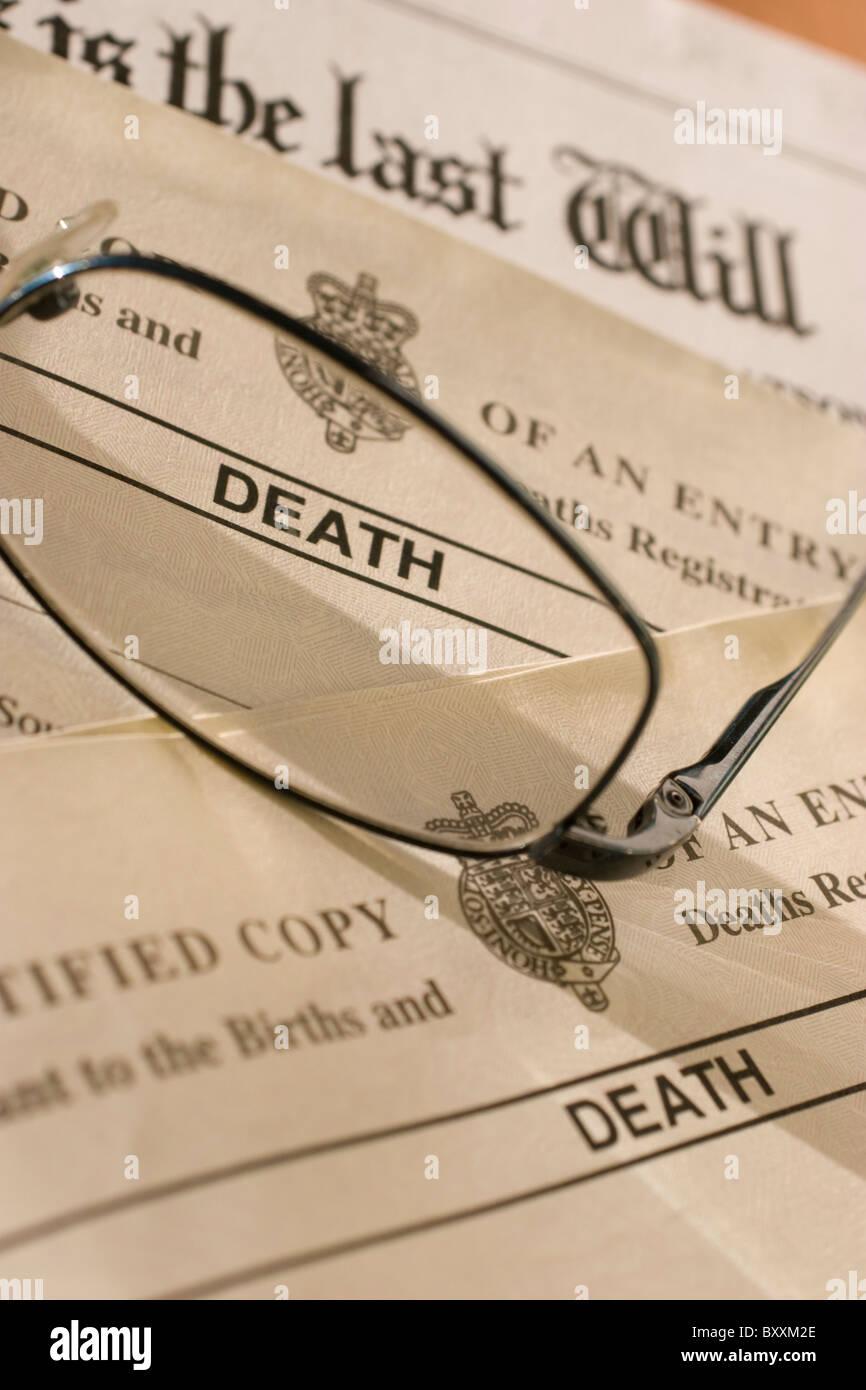 UK certificato di morte, certificati con testamento, Immagini Stock