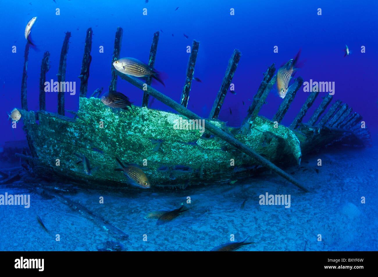 Mavi relitto, Kas, Antalya, Mare mediterraneo, Turchia Immagini Stock