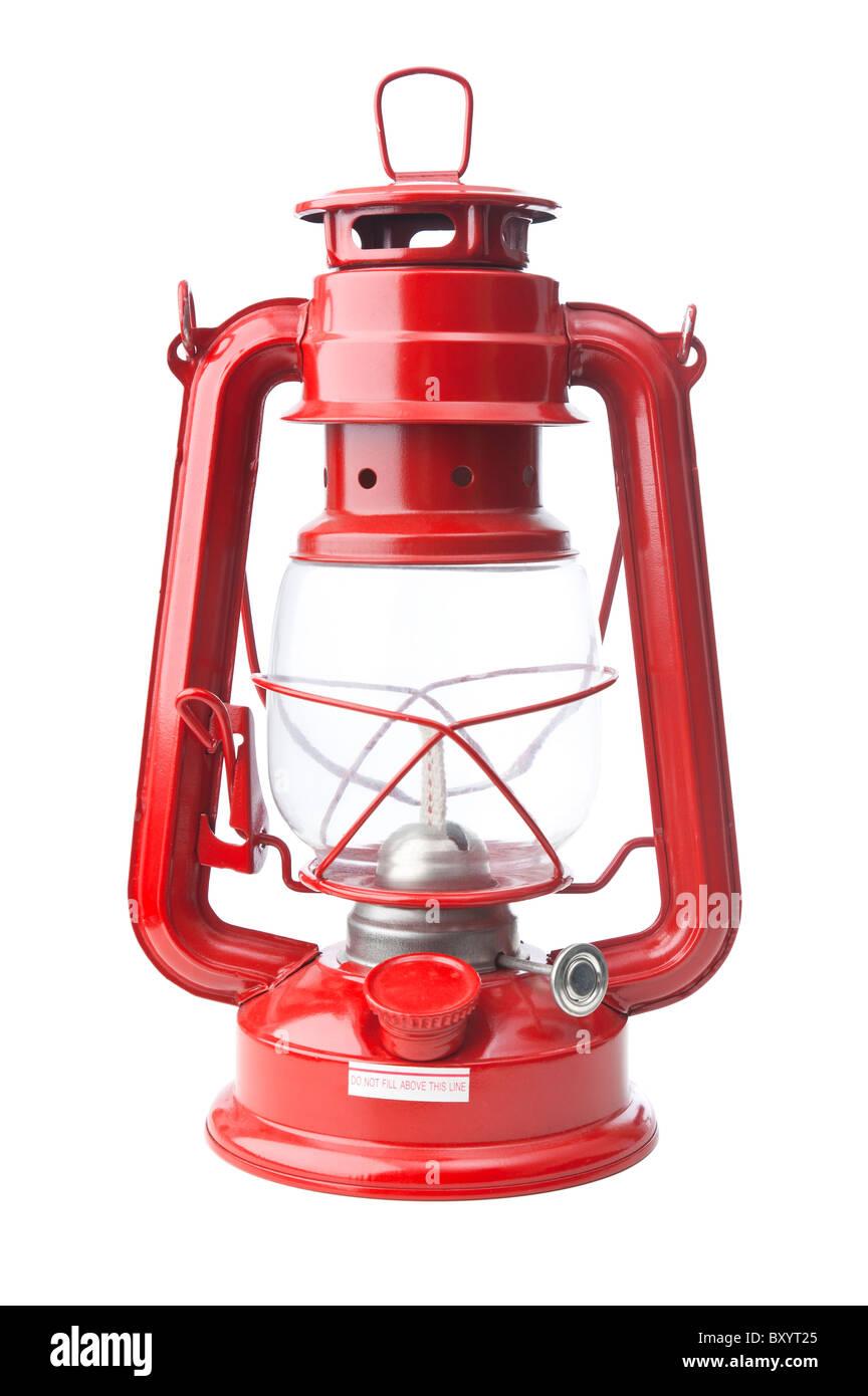 Vecchio olio rosso Lanterna isolati su sfondo bianco Immagini Stock