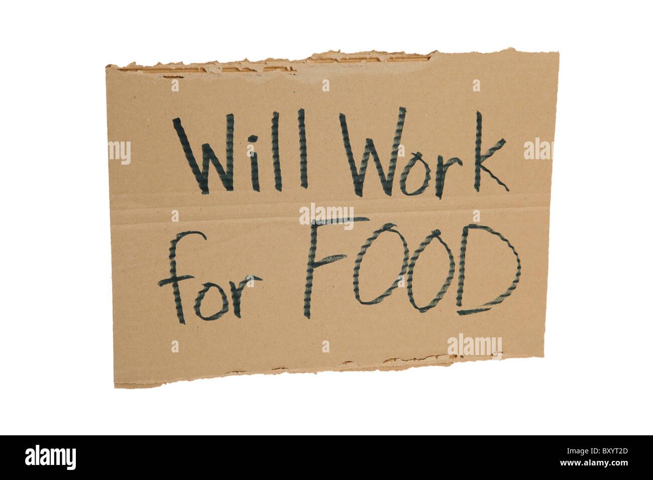 """Il cartone """"Funzionerà per alimentare"""" segno su sfondo bianco Immagini Stock"""