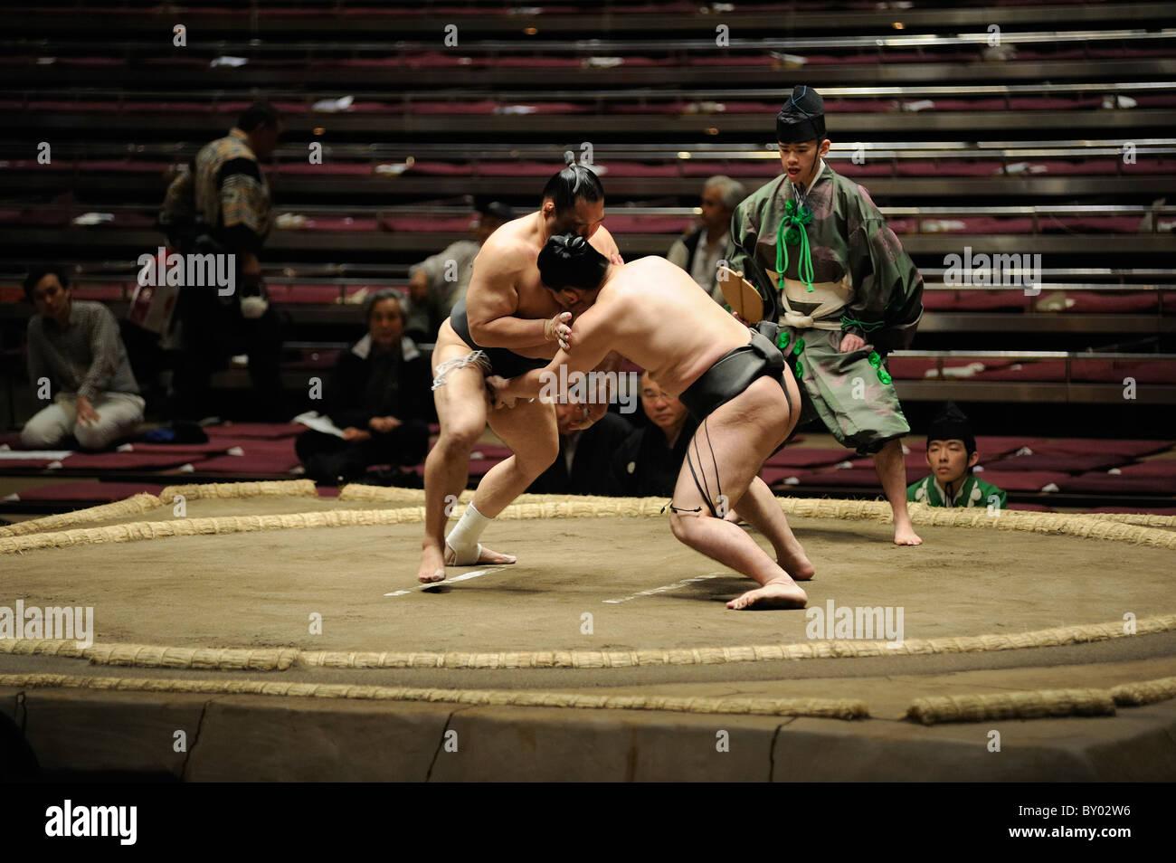 Lottatore di Sumo attaccare gli avversari, cavallo Grandi Campionati di Sumo maggio 2010, Ryogoku Kokugikan, Tokyo, Immagini Stock