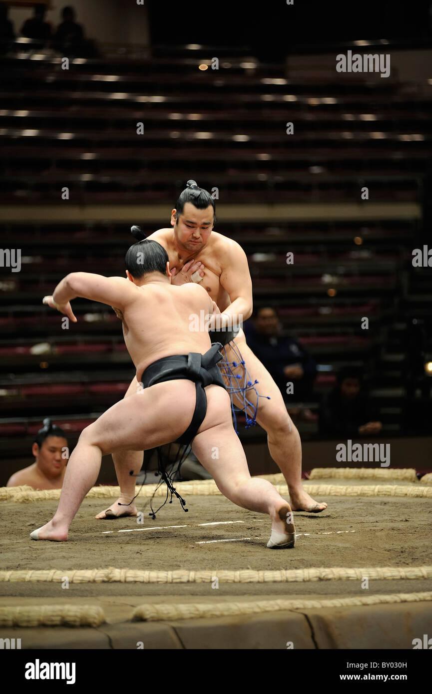 Lottatori di Sumo combattimenti, Grandi Campionati di Sumo maggio 2010, Ryogoku Kokugikan, Tokyo, Giappone Immagini Stock