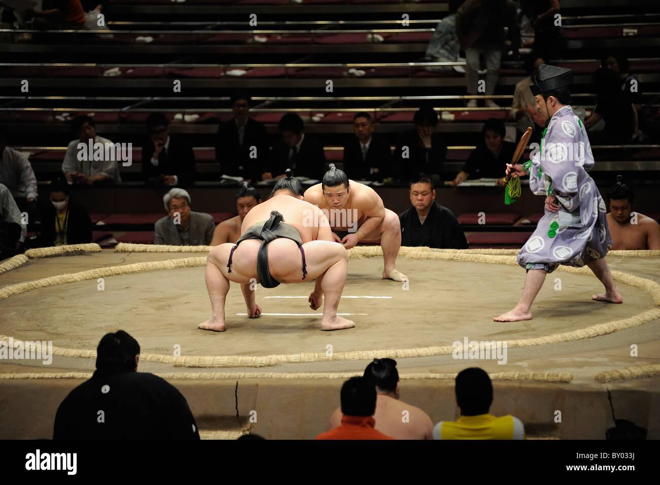 Due lottatori di sumo a destra prima di bout, Grandi Campionati di Sumo maggio 2010, Ryogoku Kokugikan, Tokyo, Giappone Immagini Stock