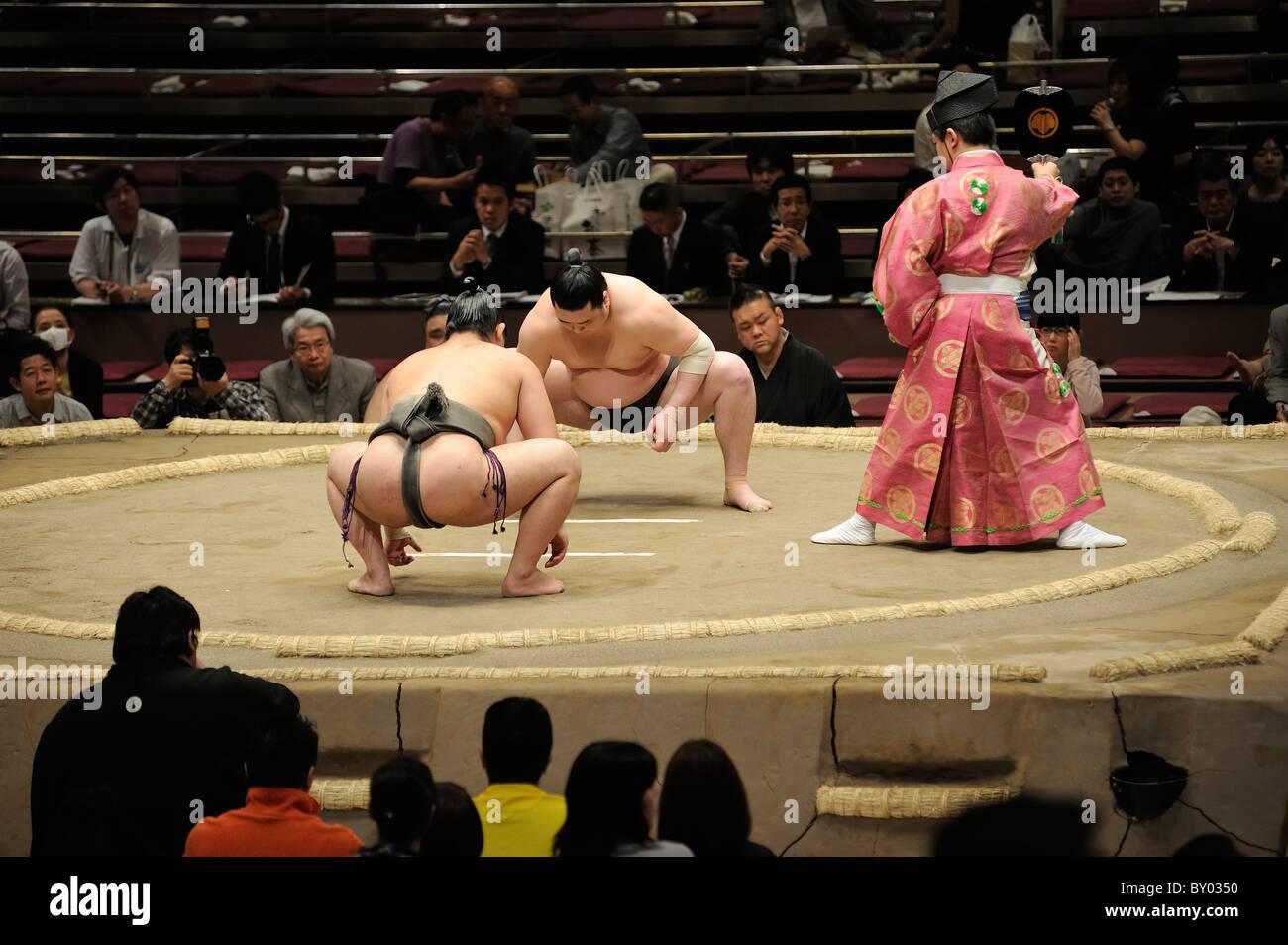 Due lottatori di sumo in attesa di arbitro per avviare il bout, Grandi Campionati di Sumo maggio 2010, Ryogoku Kokugikan, Immagini Stock